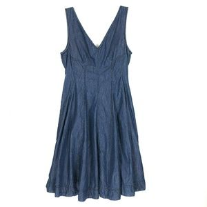 Holding Horses Pleated Chambray Denim Dress